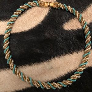 Banana Republic Teal Gold and White Rope Necklace